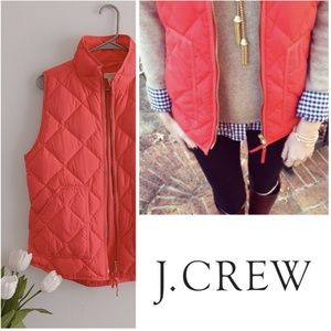 J. Crew Quilted Down Puffer Vest Coral Pink Sz M
